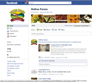Facebook page for Holton Farms