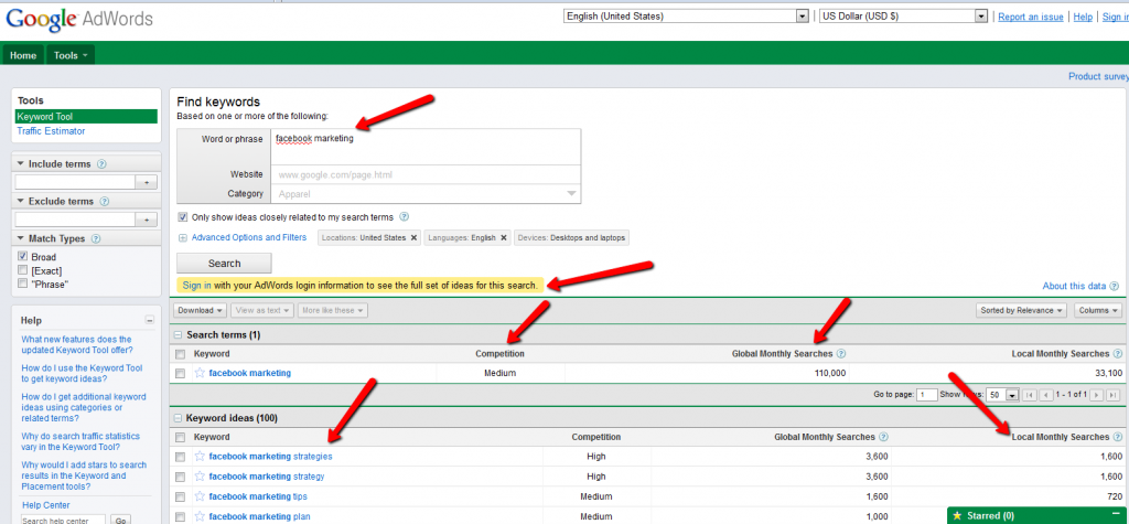 Google Adwords External Keyword Tool