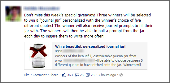 Use contests at Facebook